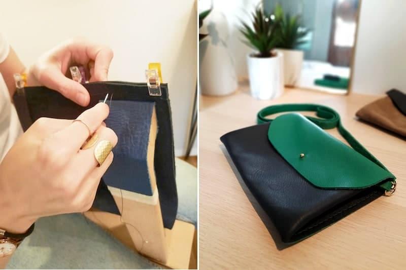 atelier DIY creation fabrication sac pochette cuir - annecy geneve haute savoie